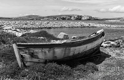 Old Wooden Boat On Delos Mono Poster by John Rizzuto