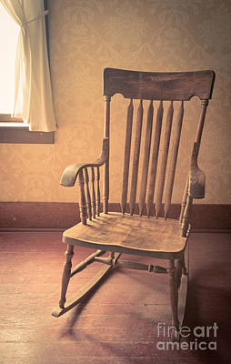Old Wooden Rocking Chair Poster by Edward Fielding