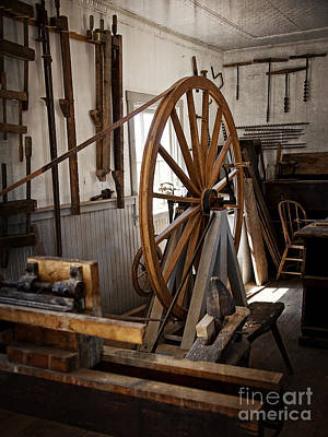 Old Wooden Treadle Lathe And Tools Poster