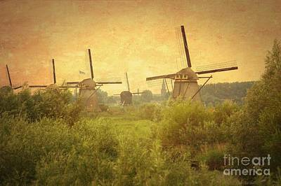 Old World Windmills Poster