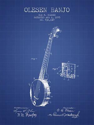 Olesen Banjo Patent From 1895 - Blueprint Poster