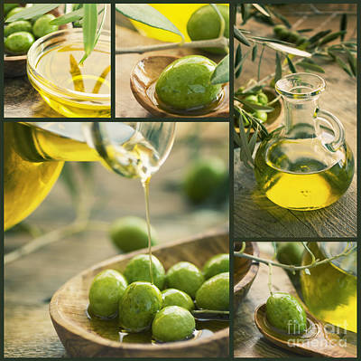 Olive Oil Collage Poster by Mythja  Photography
