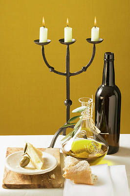 Olive, Parmesan, Bread, Olive Oil, Wine Bottle, Candlestick Poster