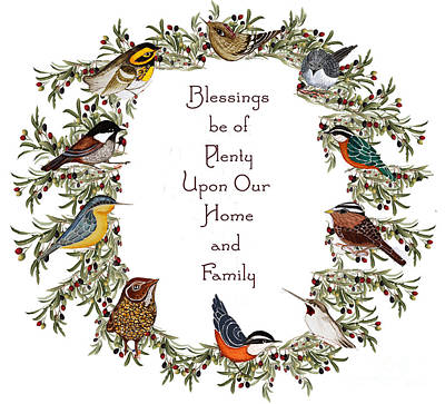 Olive Wreath Of Little Birds Blessings Poster by Alexandra  Sanders