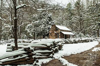 Poster featuring the photograph Oliver's Log Cabin Nestled In Snow by Debbie Green