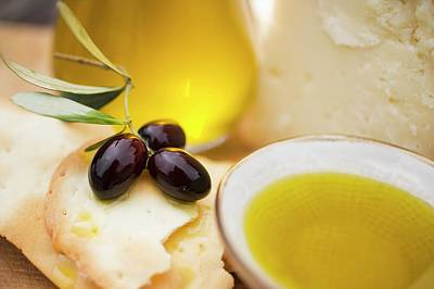 Olives, Crackers, Olive Oil And Parmesan Poster