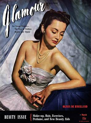 Olivia De Havilland On The Cover Of Glamour Poster by Scotty Welbourne