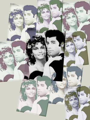 Olivia Newton John And John Travolta In Grease Collage Poster