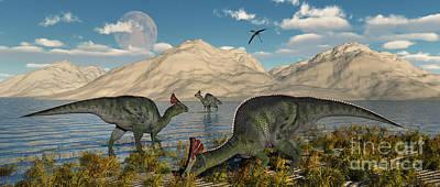 Olorotitan Duckbilled Dinosaurs Grazing Poster by Mark Stevenson
