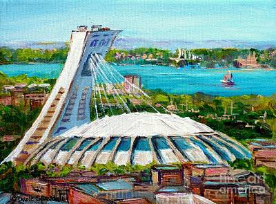Olympic Stadium Montreal Painting Velodrome Biodome Heritage Art By City Scene Artist Carole Spandau Poster by Carole Spandau