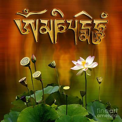 Om Mani Padme Hum Mantra With White Lotus Poster by Gabriele Pomykaj