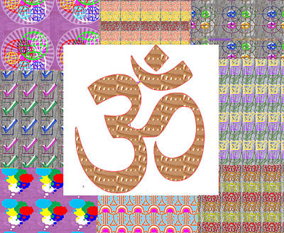 Om Manta Gold N Graphic Art Patchup Background Poster by Navin Joshi