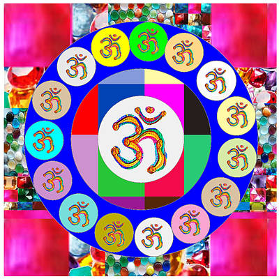 Om Mantra Dedication  Devotion Symbol Assembly By Artist N Reiki Healing Master Navinjoshi Poster