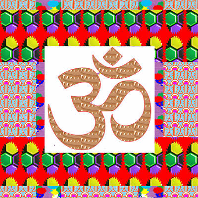 Om Mantra Ommantra Golden Art With Graphic Patchwork Art Poster