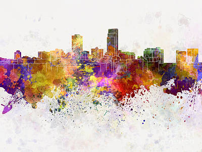 Omaha Skyline In Watercolor Background Poster by Pablo Romero