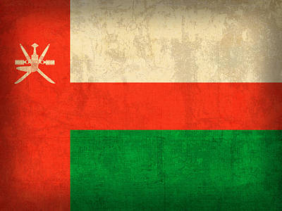 Oman Flag Vintage Distressed Finish Poster