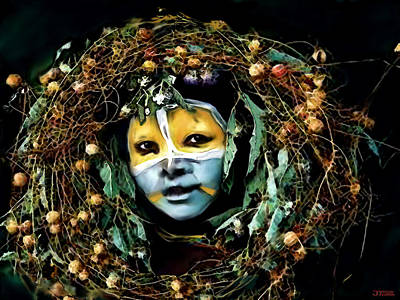 Omo Valley Man With Wreath Poster by Jann Paxton