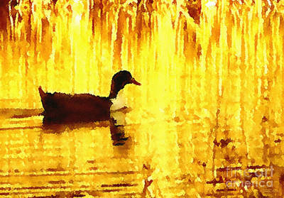 Poster featuring the digital art On Golden Pond by Cristophers Dream Artistry