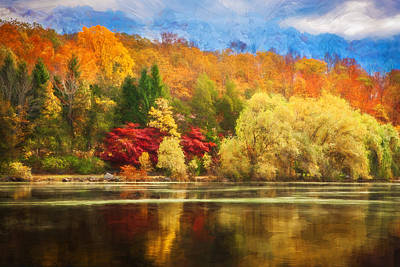 On Golden Pond Fall Foliage Painted  Poster