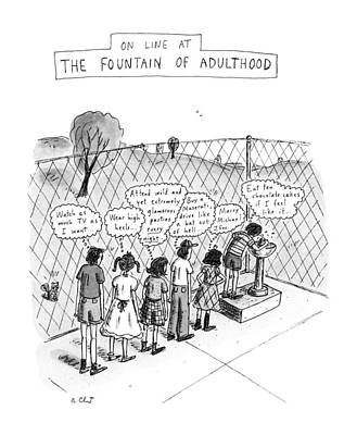 On Line At The Fountain Of Adulthood: Watch Poster by Roz Chast