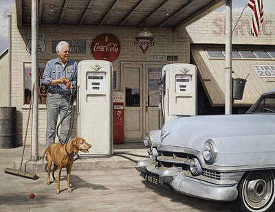 Poster featuring the painting On Route 66 by Ron Crabb
