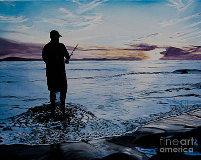 On The Beach Fishing At Sunset Poster