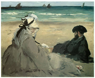 On The Beach Suzanne And Eugene Manet At Berck Poster by Edouard Manet