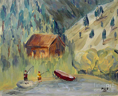Poster featuring the painting On The Lake by Maria Langgle