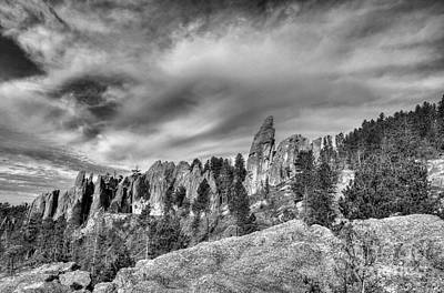 On The Needles Highway 5 Bw Poster by Mel Steinhauer