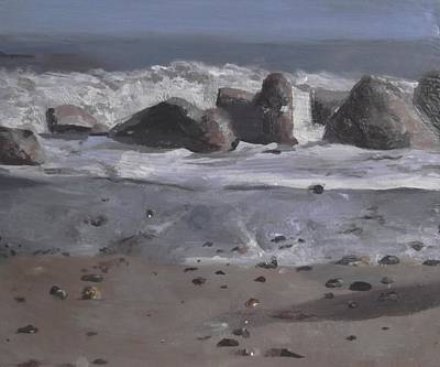 Poster featuring the painting On The Rocks by Cherise Foster