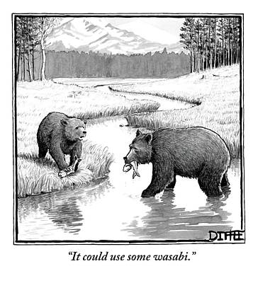 One Bear Speaks To Another As They Catch Fish Poster by Matthew Diffee