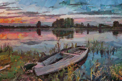One Boat Sunset 1 Poster by Yury Malkov