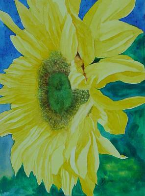 One Bright Sunflower Colorful Original Art Floral Flowers Artist K. Joann Russell Decor Art  Poster