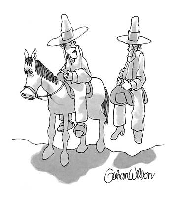One Cowboy Talks To A Second Who Is Sitting Poster