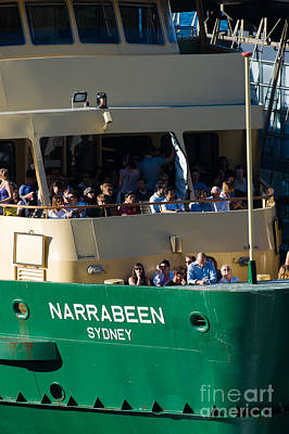 One Of The Iconic Manly Ferries Arrives At Circular Quay In Sydney Full Of Happy Tourists Poster