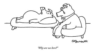 One Pig Lays On A Therapists Couch Poster by Charles Barsotti