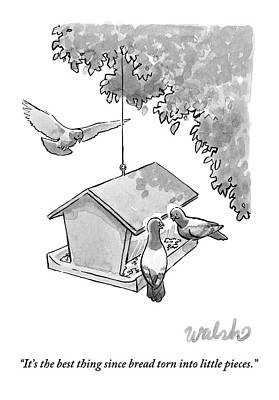 One Pigeon Speaks To Another At A House-shaped Poster