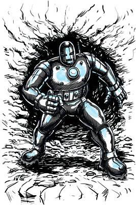 One Small Step For Iron Man Poster by John Ashton Golden