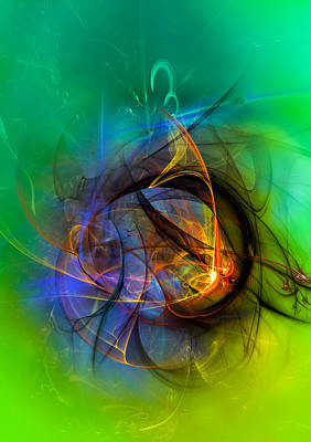 Colorful Digital Abstract Art - One Warm Feeling Poster