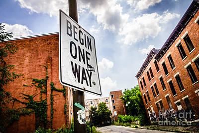 One Way Sign At Glencoe-auburn Place In Cincinnati Poster by Paul Velgos