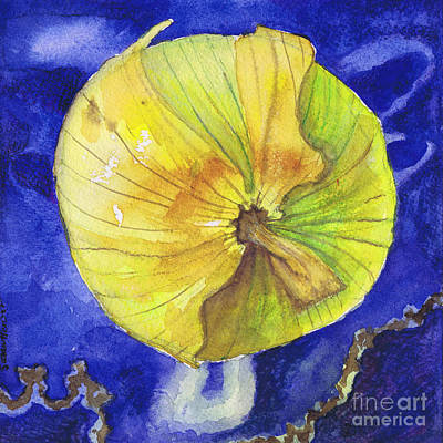 Poster featuring the painting Onion On Blue Tile by Susan Herbst