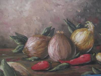 Poster featuring the painting Onions And Peppers by Megan Walsh