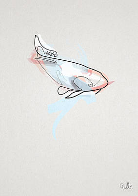 oneline Fish Koi Poster by Quibe