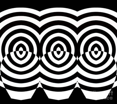 Op Art Geometric Pattern Black White Print No.71  Poster
