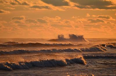 Poster featuring the photograph Opal Beach Sunset Colors With Huge Waves by Jeff at JSJ Photography