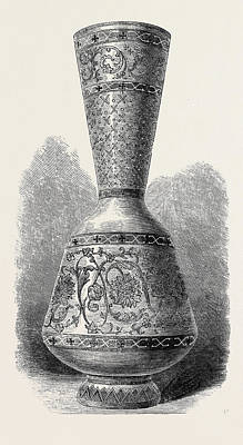 Opaque Enamelled Glass Vase Russian 1868 Poster by English School