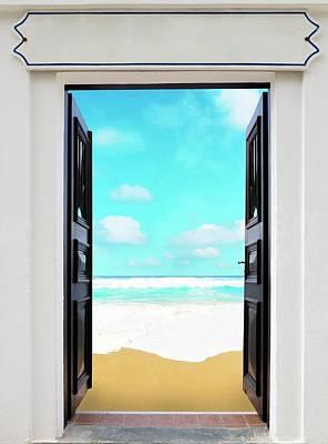 Open Door And Seascape Poster