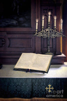 Open Hymnal And Candles On Altar Poster