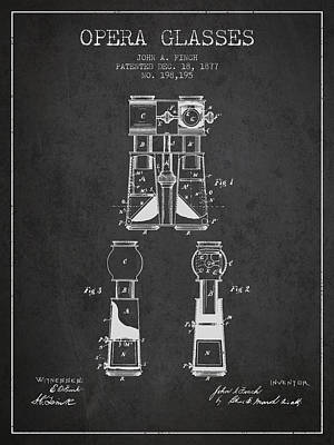Opera Glasses Patent From 1877 - Dark Poster by Aged Pixel