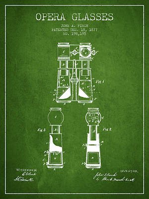 Opera Glasses Patent From 1877 - Green Poster by Aged Pixel